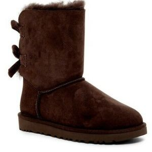 Ugg Australia Bailey Bow Corduroy SZ 5 Chocolate